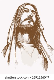 Vector vintage portrait of Jesus Christ , graphical sepia illustration , religion