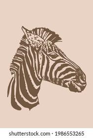 Vector vintage portrait of zebra ,sepia background, striped horse
