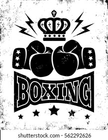 Vector vintage poster for boxing with gloves and crown. Vintage logo for boxing.