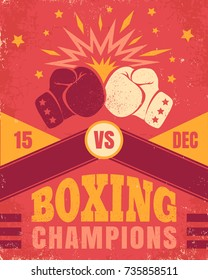 Vector vintage poster for a boxing with two gloves. Poster with emblem for boxing on old paper background