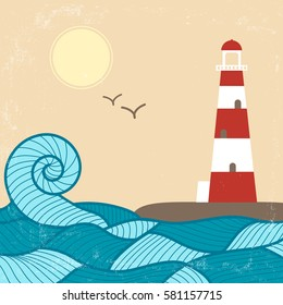 Vector vintage poster with lighthouse, waves, sun and birds