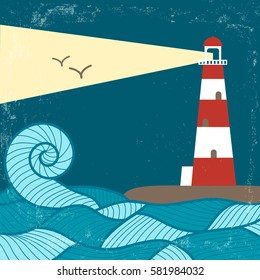 Vector vintage poster with lighthouse, waves and birds