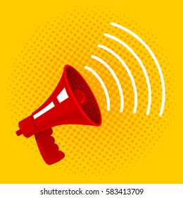 Vector vintage poster with megaphone on halftone background. Red megaphone on yellow background.