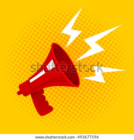 Vector vintage poster with red retro megaphone. Megaphone on yellow halftone background