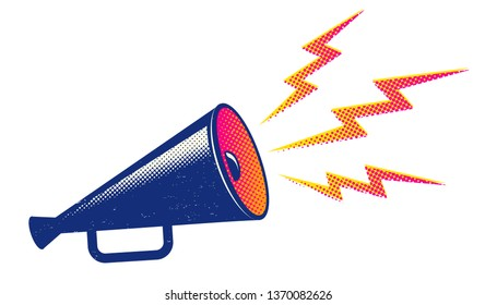 Vector vintage poster with retro blue megaphone. Retro blue megaphone on white background.