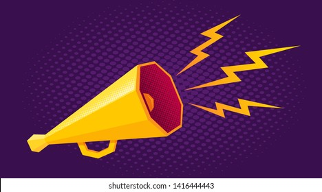Vector vintage poster with white and yellow megaphone on purple halftone background. Vector retro megaphone.