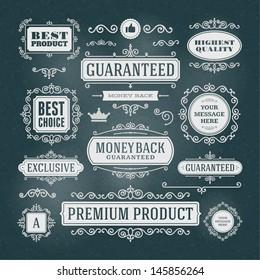 Vector vintage Premium quality labels set and antique frames design elements. Flourishes calligraphic.