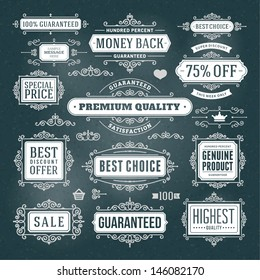 Vector vintage Premium quality labels set and antique frames design elements. Flourishes calligraphic.