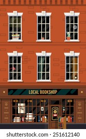 Vector vintage printable poster design background on downtown brick building structure facade with detailed windows and retro antiquarian book shop front on ground floor