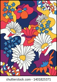 Vector Vintage Psychedelic Floral Background, Cover, Poster Template from the 1960s Hippie Psychedelic Art