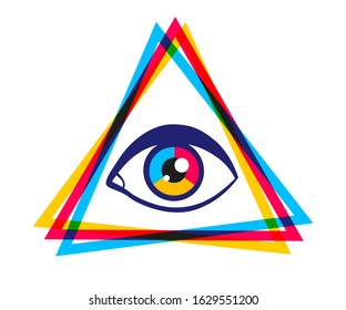 Vector vintage pyramid with eye in 90's style. Vintage vector poster with pyramid and eye. Rainbow pyramid in CMYK style.