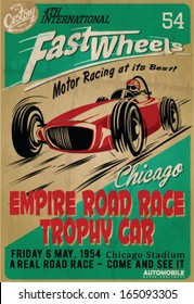 vector vintage race poster.