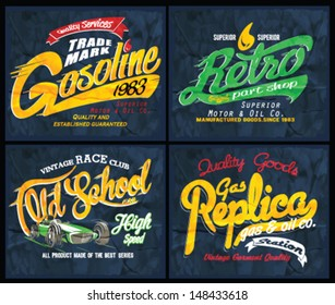 vector vintage race print set