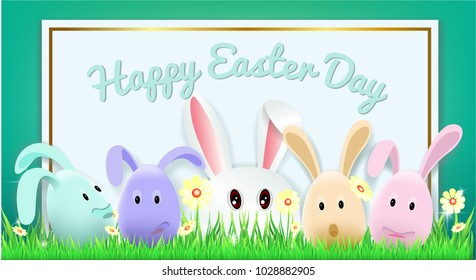 vector vintage background easter template rabbit stock vector