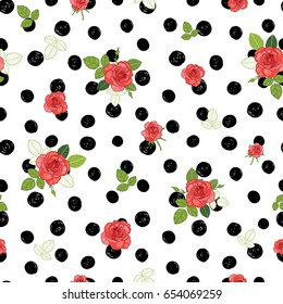 Vector vintage red, black, and white roses and leaves on polka dot background seamless repeat pattern. Great for retro fabric, wallpaper, scrapbooking projects. Surface pattern design.