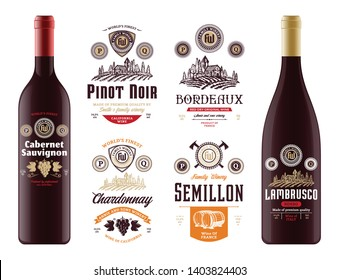Vector vintage red and white wine labels and wine bottle mockups. Cabernet sauvignon, chardonnay, pinot noir, bordeaux, semillon and lambrusco labels. Winemaking business branding and identity.