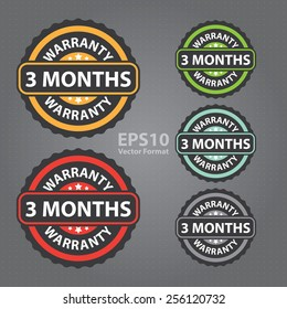vector : vintage, retro 3 months warranty sticker, badge, icon, stamp, label, banner, sign
