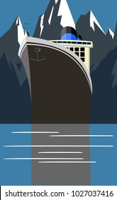 Vector vintage retro classic travel vacation Alaska cruise poster with copy space