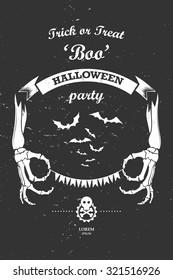 Vector vintage retro grunge label design elements halloween party
