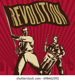 Vector vintage revolution poster. Isolated artwork object. Suitable for and any print media need.