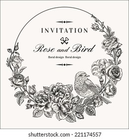 Vector vintage round frame with birds and roses. Floral wreath. Black and white. Fit for wedding card, invitation, greetings.