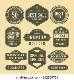 Vector vintage sale label set design elements Premium quality, discount, price illustrations.