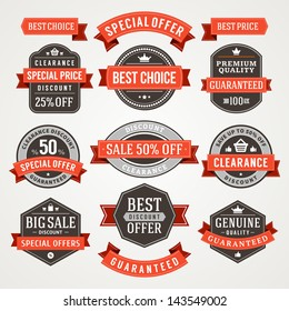 Vector vintage sale labels and ribbons set design elements Premium quality, discount, price illustrations.