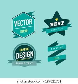 Vector vintage sale labels and ribbons set design elements.