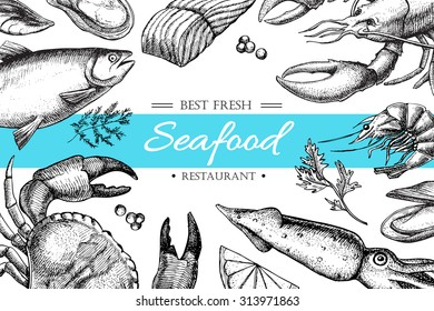 Vector vintage seafood restaurant illustration.Hand drawn banner. Great for meny, banner, flyer, card, seafood business promote.