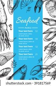 Vector vintage seafood restaurant menu illustration. Hand drawn banner. Great for menu, banner, flyer, card, seafood business promote.