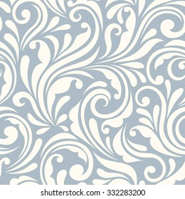 Vector vintage seamless blue and white floral pattern.