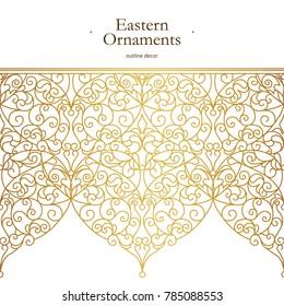 Vector vintage seamless border for design template. Eastern style element. Golden outline floral decor. Luxury illustration for invitations, greeting card, wallpaper, web, background.