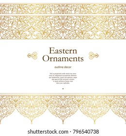 Vector vintage seamless border for design template. Eastern style element. Golden outline floral decor. Luxury illustration for invitations, greeting card, wallpaper, web, background.