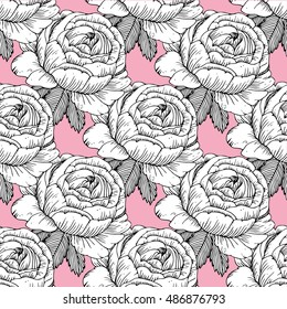 Vector vintage seamless floral pattern.Illustration engraving style.Black and white.Garden roses.Black and white flowers on a pink background.Seamless pattern of roses. Line drawing.
