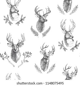 Vector vintage seamless pattern with deers heads in floral frames. Hand drawn texture with animal portraits and botanical details in engraving style. Forest background with isolated natural elements.