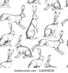 Vector vintage seamless pattern with hares in different actions isolated on white. Hand drawn texture with rabbits in engraving style. Background with sketch of animals.