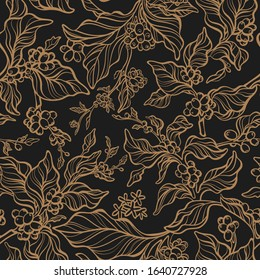 Vector vintage seamless pattern. Nature tree, coffee branch, leaf, bean, flower. Art hand drawn design, golden flora on black background, foliage, old garden in bloom. Floral print, embroidery