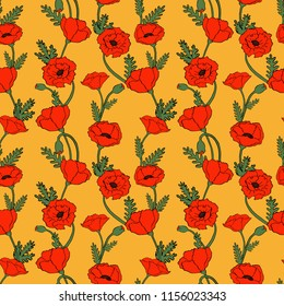 Vector vintage seamless pattern with poppy flowers in autumn colors.