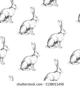 Vector vintage seamless pattern with sitting hare isolated on white. Hand drawn texture with rabbit in sketch style. Background with engraved animal.