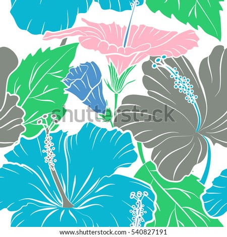 Vector Vintage Seamless Tropical Hibiscus Flowers Stock Vector