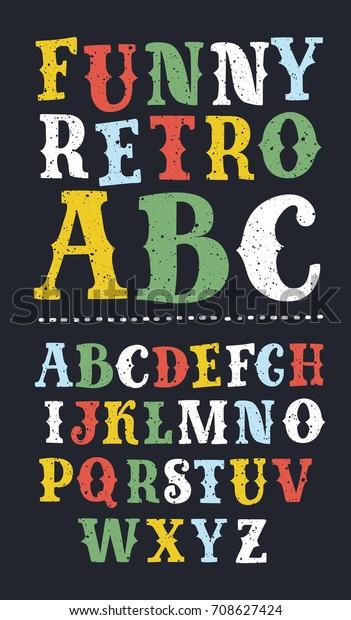 Vector Vintage Serif Carnival Font Alphabet Stock Vector Royalty