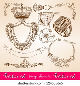 Vector vintage set with graphic floral elements and jewelries.