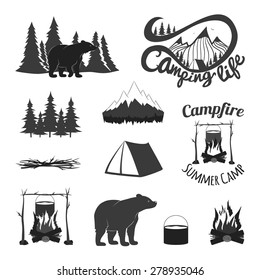 Vector vintage set of icons, emblems, logos and labels. Bears silhouettes, forest, campfire, camping, tent, pan, mountains. Trendy design elements