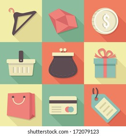Vector Vintage Shopping Flat Icons Set