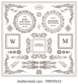 Vector vintage signs, symbols, cursors, arrows for design. Elements for frames, borders, corners, squares, dividers. Stars, waves, Space and celestial body elements. Different in each set 2 from 9