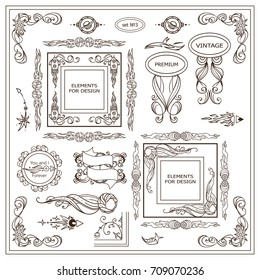 Vector vintage signs, symbols, cursors, arrows for design. Elements for frames, borders, corners, squares, dividers. Stars, waves, Space and celestial body elements. Different in each set 3 from 9