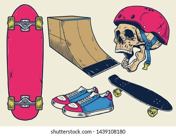 vector vintage skateboard objects in hand drawn style