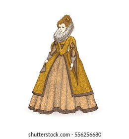 Vector vintage sketch illustration. Gentlewoman Elizabethan epoch 16th century. Medieval lady in a rich dress with large collar.