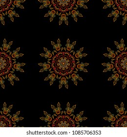 Vector vintage snowflakes ornament. Hand drawn illustration. Damask seamless pattern in brown, red and yellow colors. Oriental style. Design for fabric, textile, invitation, wrapping and book covers.