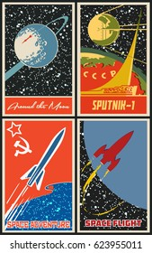 Vector Vintage Space Posters